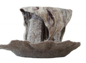 Melting Pot, reused felt, lace, and yarn